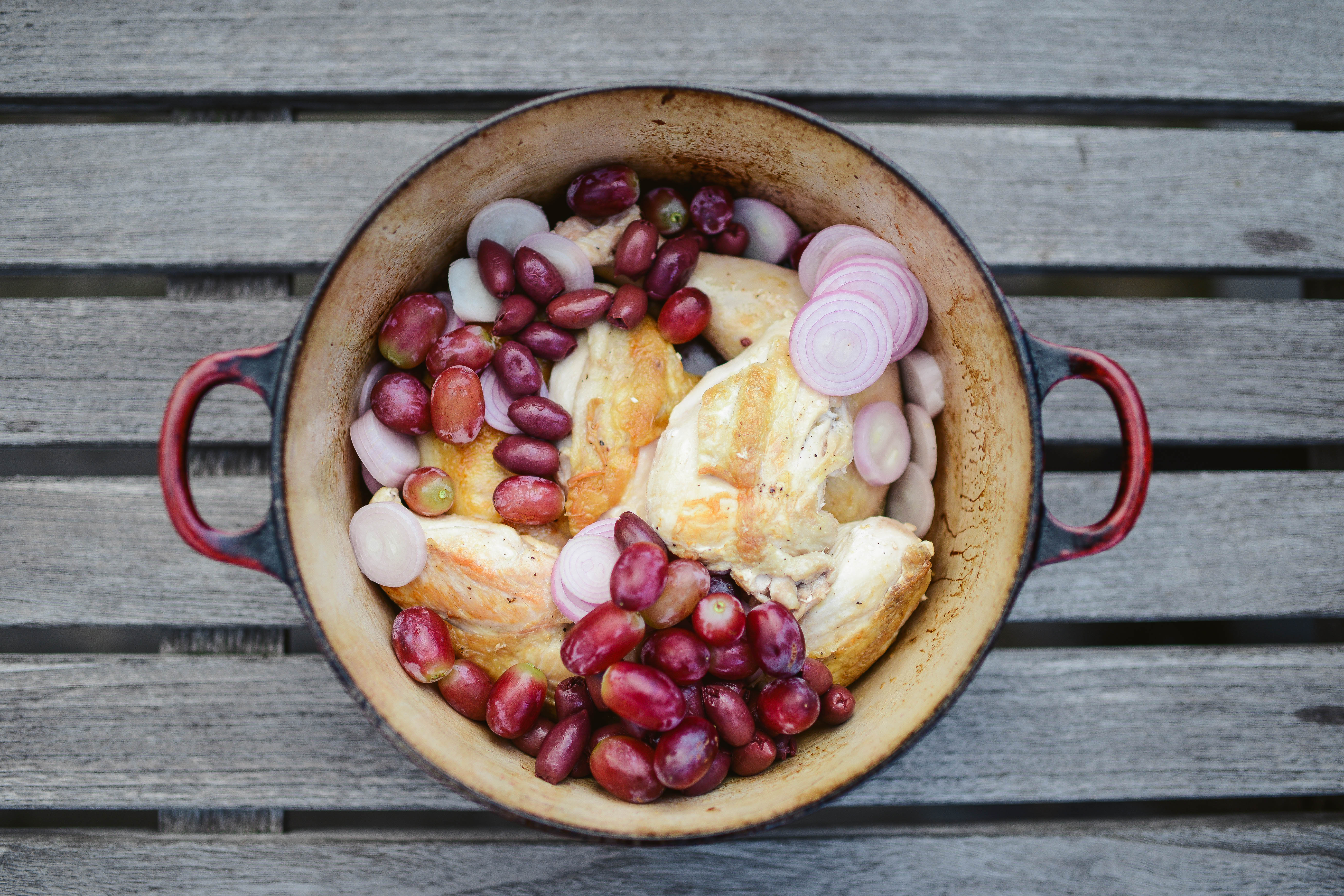 "Deb Perelman Husband harvest roast chicken with grapes, olives and rosemary"" from"